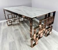 ROSE GOLD COPPER MARBLE GLASS DINING TABLE STAINLESS STEEL LEGS